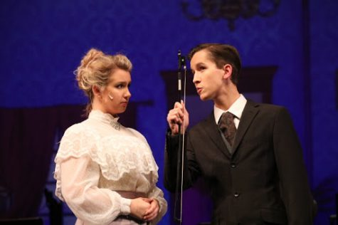 Anwen Wenger and Hyrum Farnsworth play Winifred and George Banks in the Nancy O'Brian Performing Arts Center.