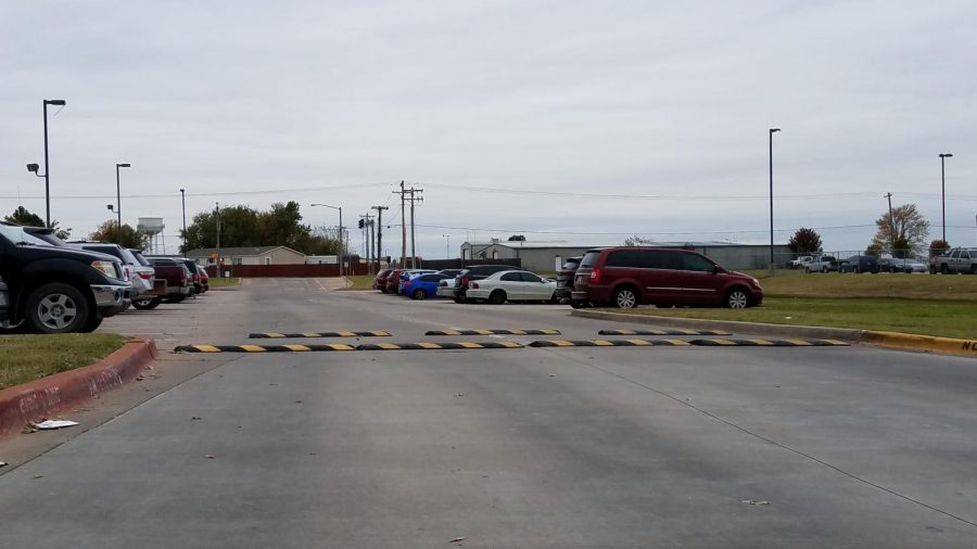 Speed bumps outside the College and Career Center