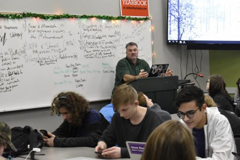 Mr. Oglesby teaching his seventh hour Journalism class