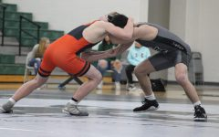 Senior Ethan Martin during the first period of his match