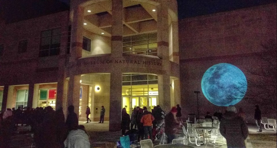 Students and elderly alike gather to see the lunar eclipse in late January