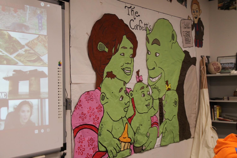 Mr. Corbett's family portrait represented by Shrek characters.