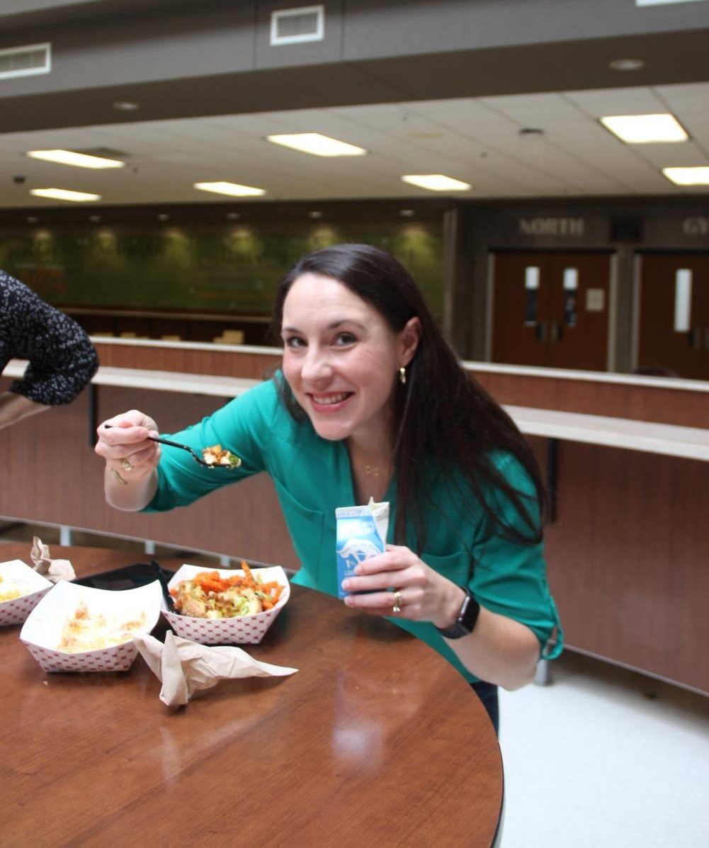 Mayor Clark enjoying her food from the cafeteria,