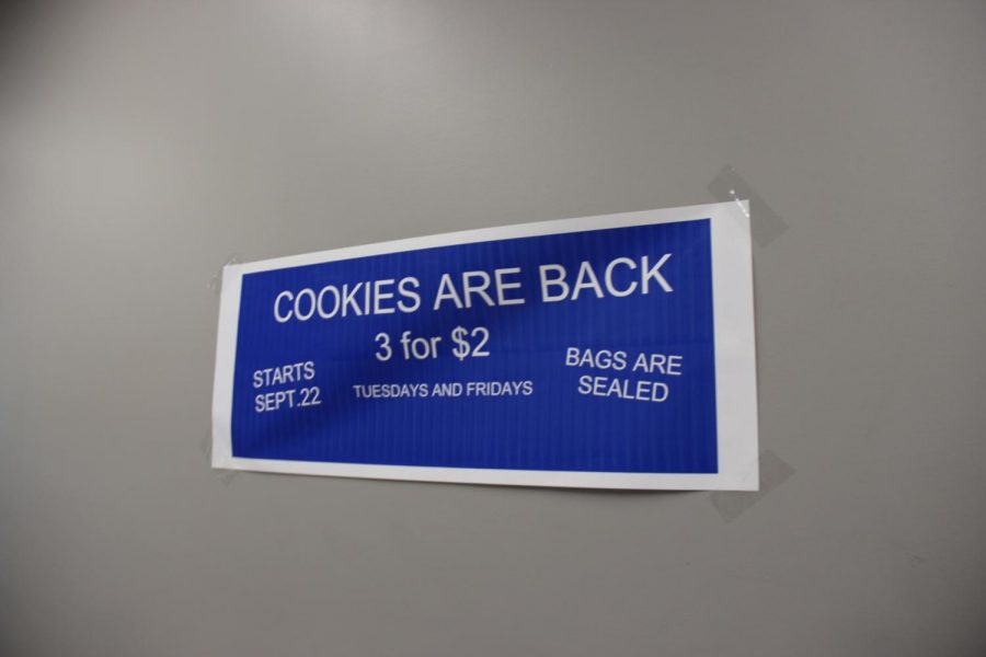 Poster to tell students cookie prices have increased.