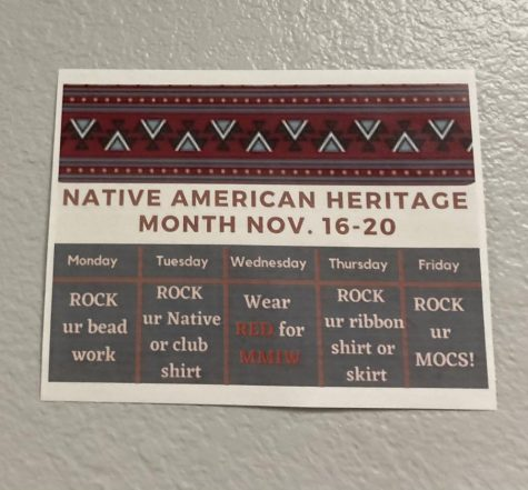 Native American Heritage  Month Flyer shown around the school