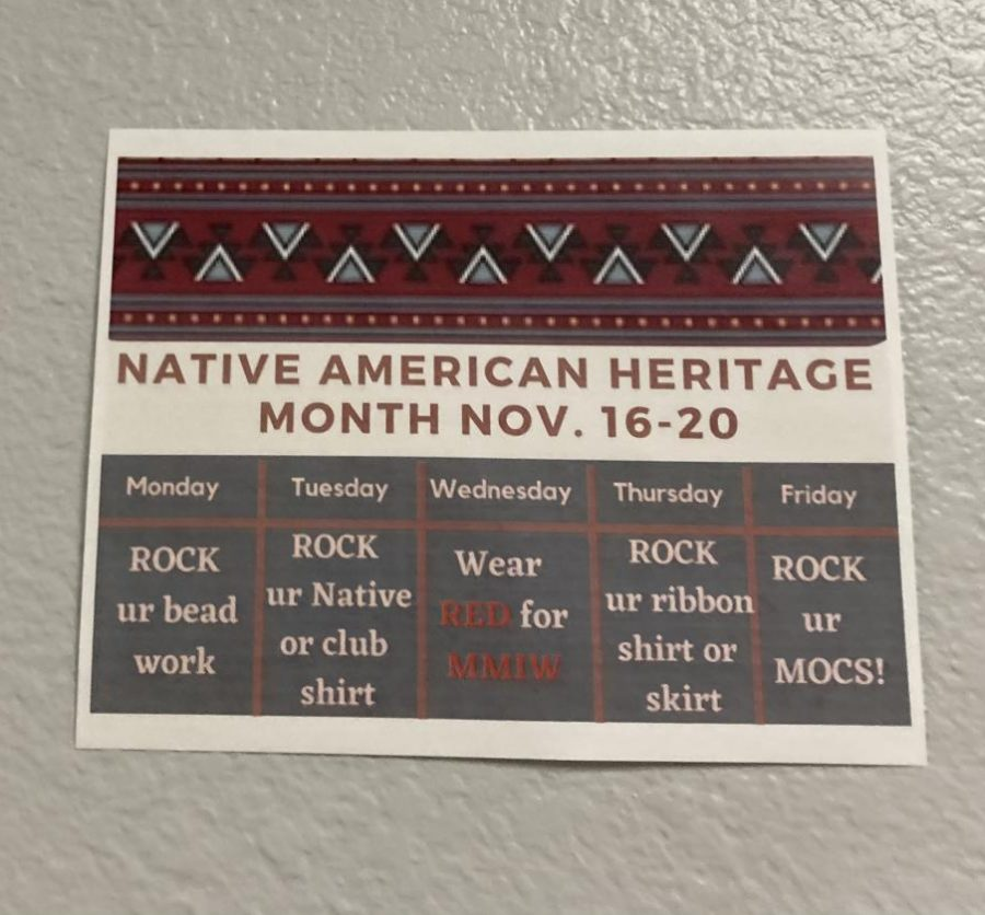 Native+American+Heritage++Month+Flyer+shown+around+the+school