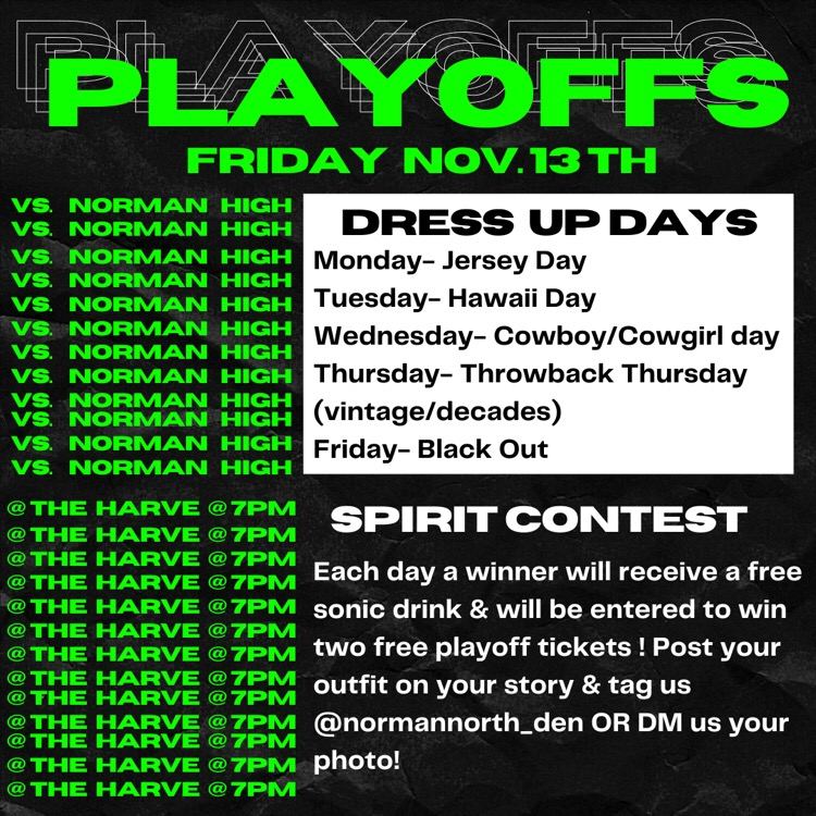 Post from DEN that explained the spirit days and the spirit contest.