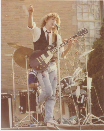 Mr. Sondag, age 19, playing with his band