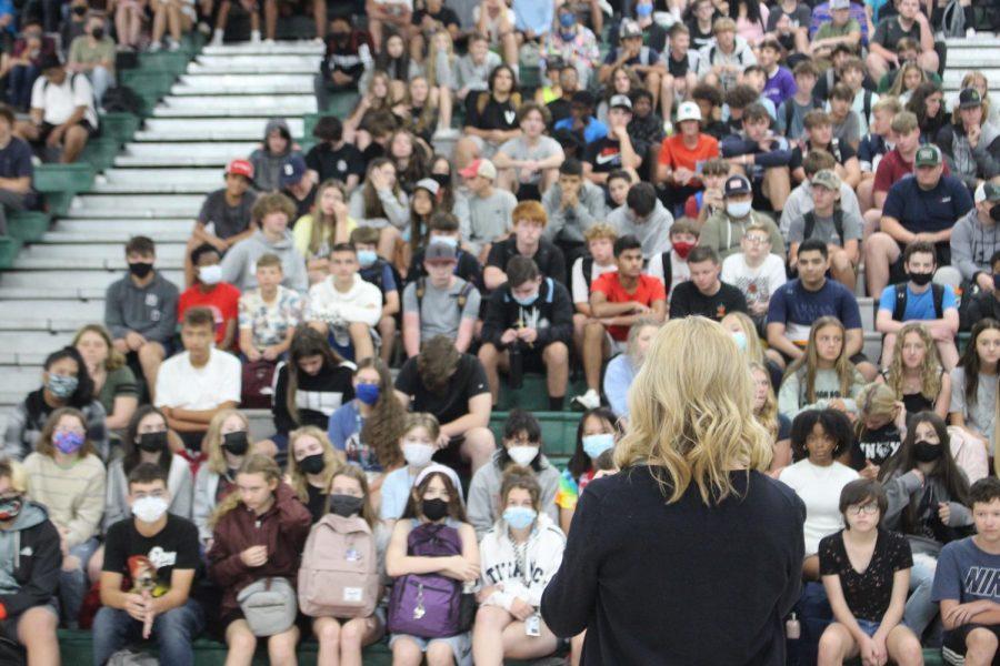 Dr. Kim Garrett speaking to freshmen on Friday, August 28th, 2021.
