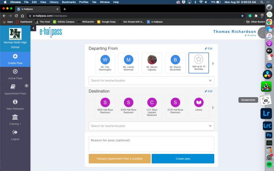 e-hallpass home page, where you can create a hallpass.