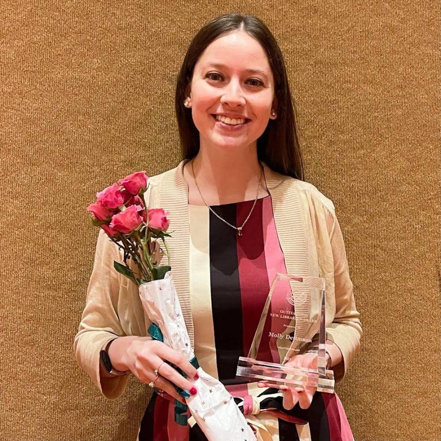 Photo of Mrs. Dettmann, winner of the 2021 Oklahoma Library Associations Outstanding New Librarian Award.