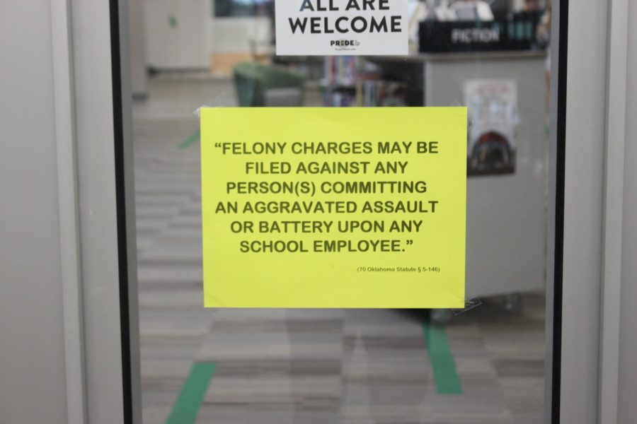 An excerpt of the law posted around the school to deter students from slapping a staff member.